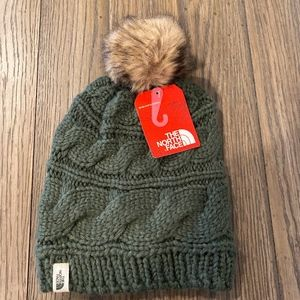 The North Face Triple Cable Fur Pom Beanie Green